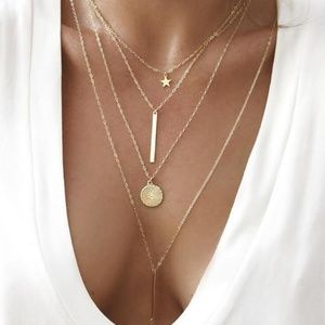 Gold Star Sequins Bar Pendant Chokers Necklaces